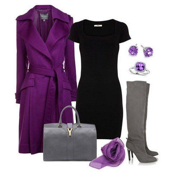 серые аксессуары к фиолетовому образу