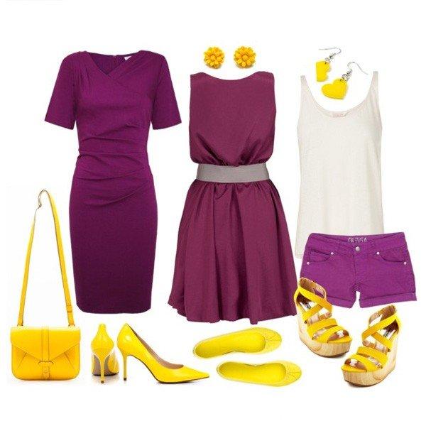 желтые аксессуары к фиолетовому образу