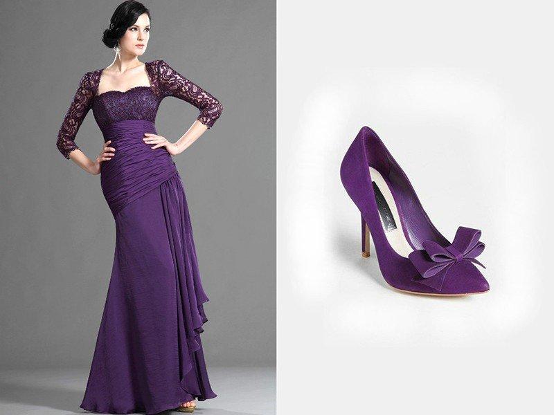 фиолетовое платье длинное с рукавами ажурными