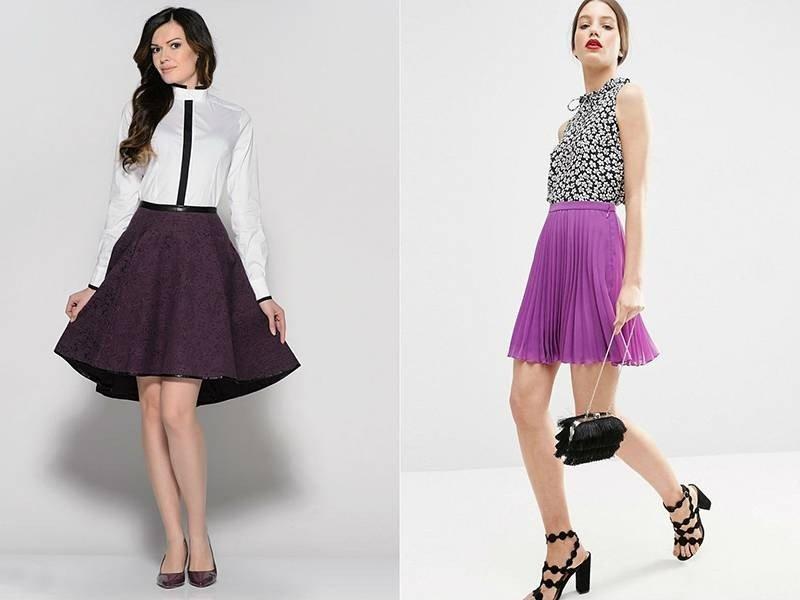 фиолетовая юбка под блузку белую под черно-белый топ