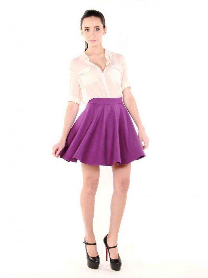 фиолетовая юбка под блузку белую