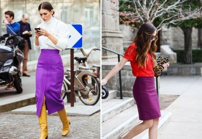 фиолетовая юбка под блузку белую под красную футболку
