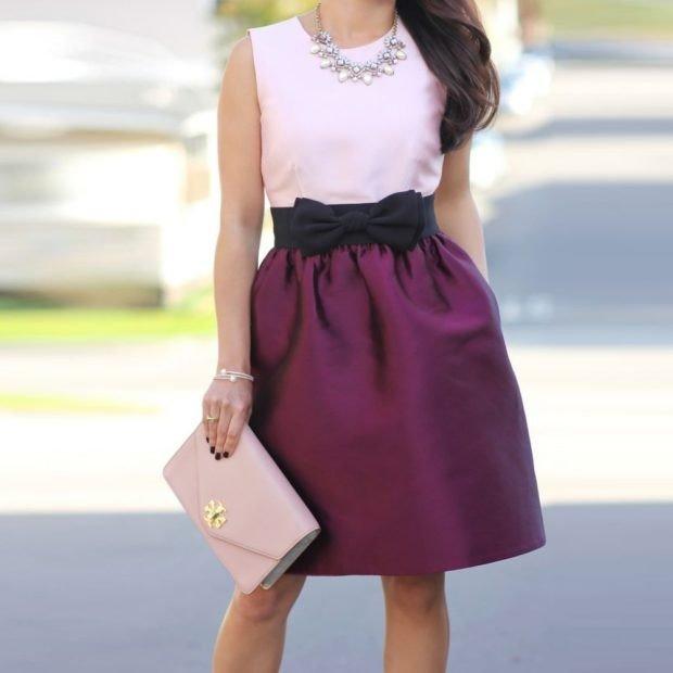 фиолетовая юбка под топ белый