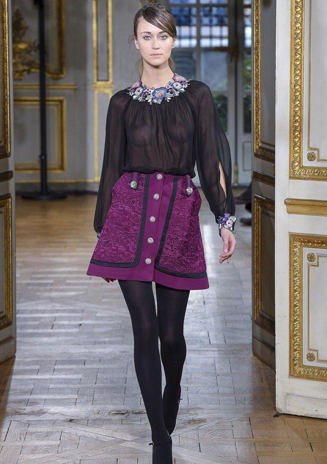 фиолетовая юбка под блузку черную прозрачную