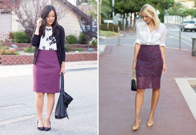 фиолетовая юбка под блузку белую с черным под белую блузку