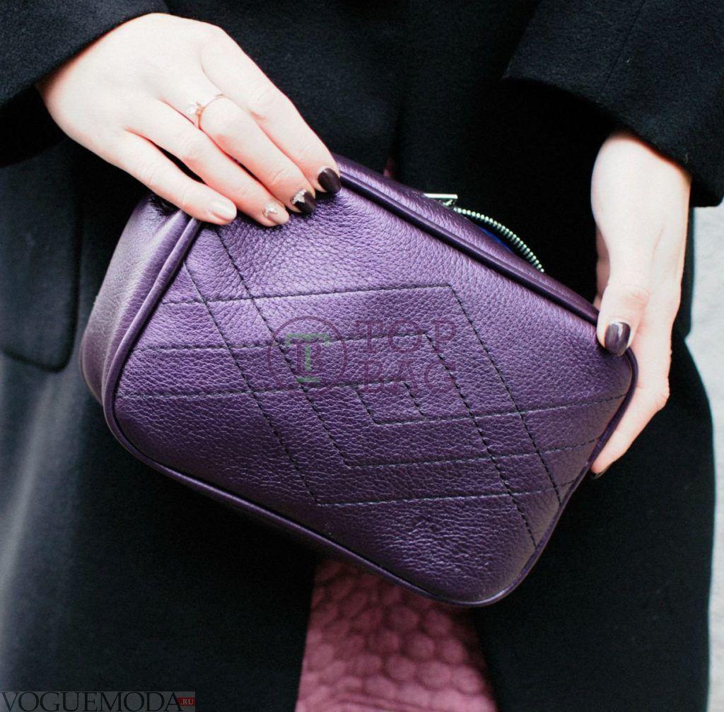 фиолетовая сумка под черную одежду