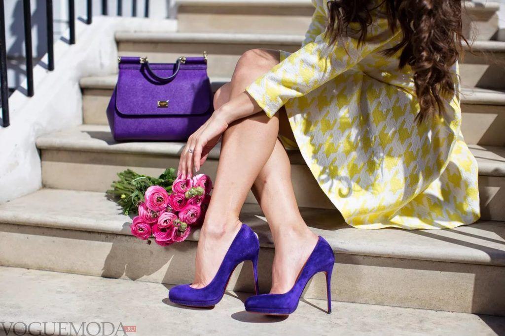 маленькая сумка фиолетовая под платье желтое