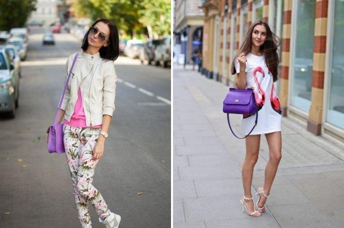 фиолетовая сумка под белую одежду