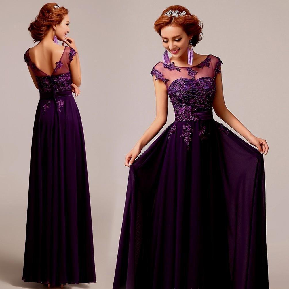фиолетовое платье в пол вечернее