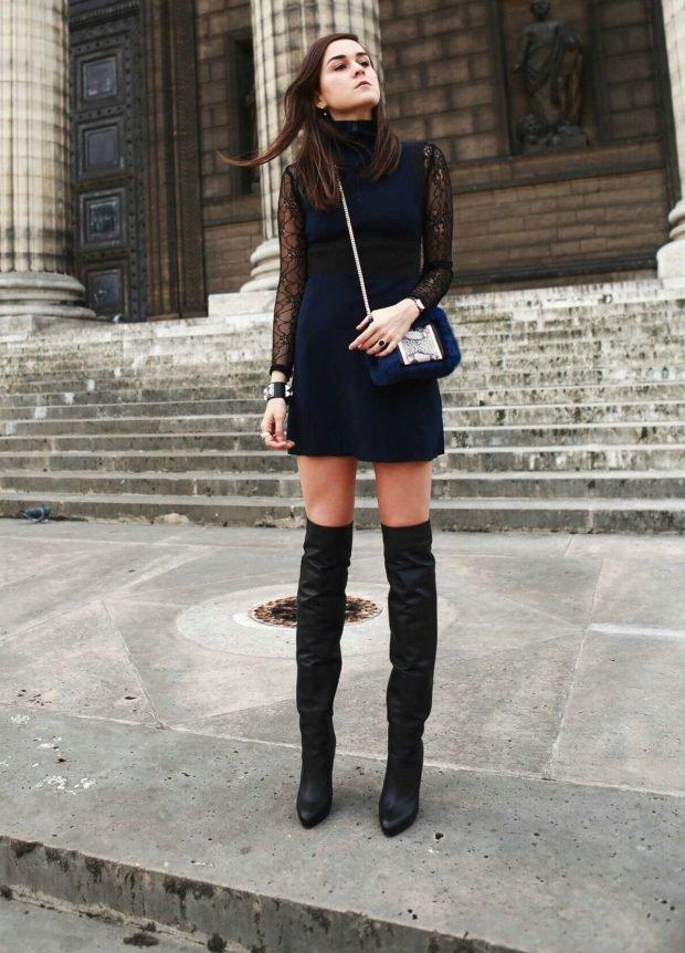 С чем носить ботфорты без каблука черного цвета