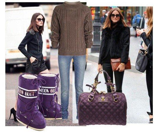 лук с фиолетовыми сапогами-луноходами без каблука