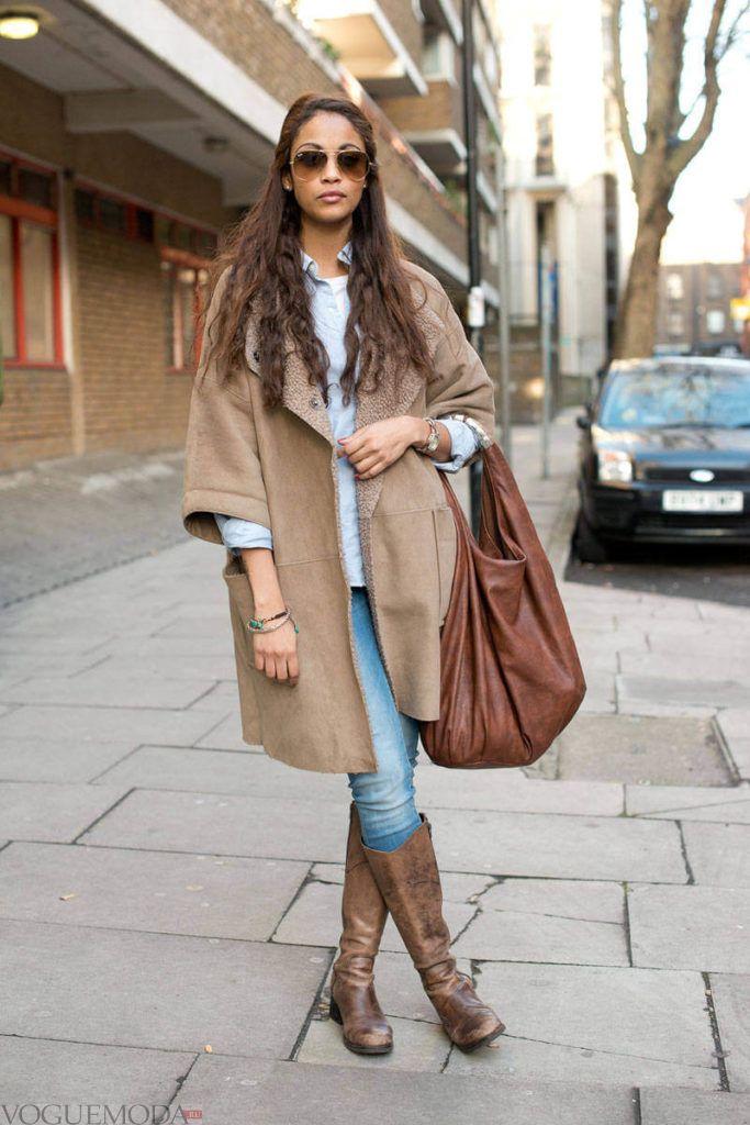 сапоги без каблука с пальто