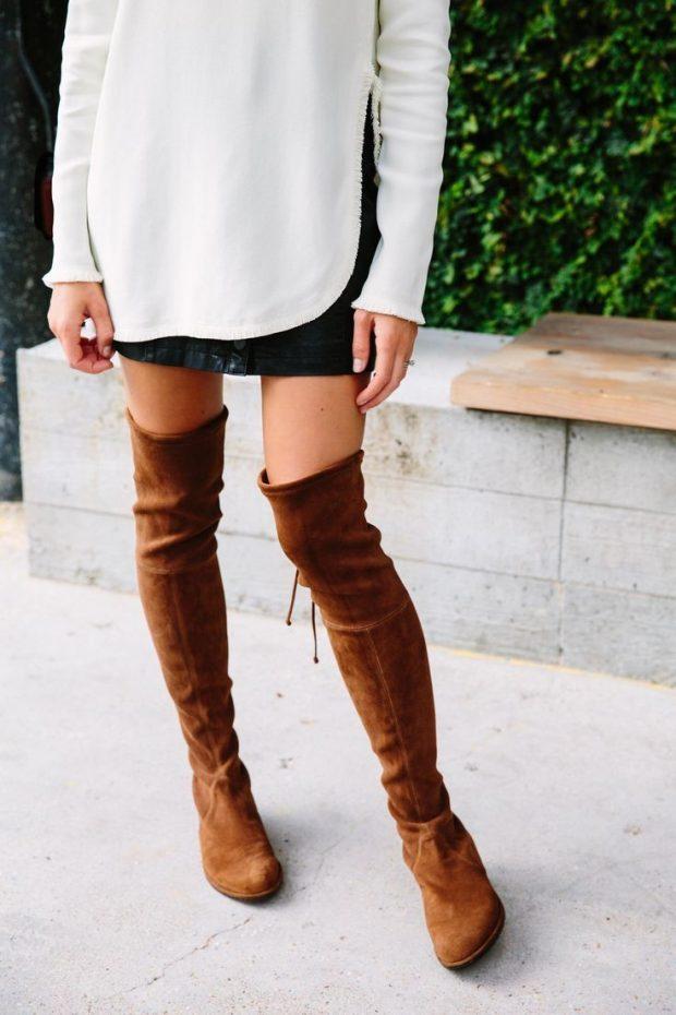 С чем носить замшевые сапоги без каблука