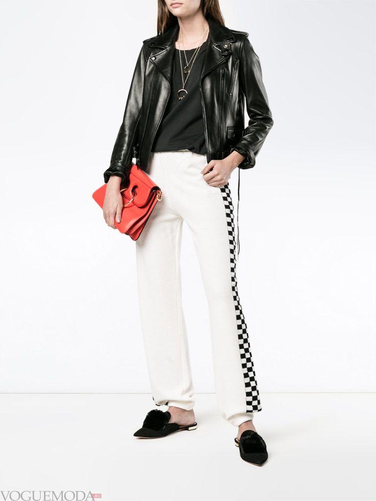 Женский спортивный стиль: брюки белые