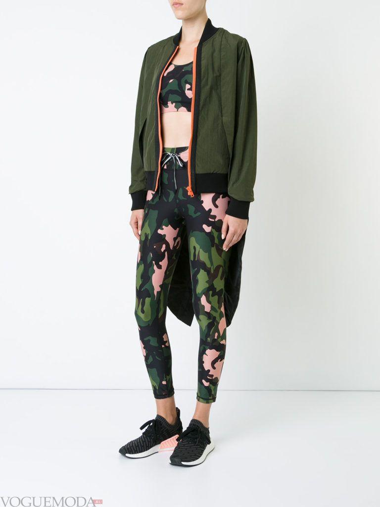 Женский спортивный стиль: куртка зеленая