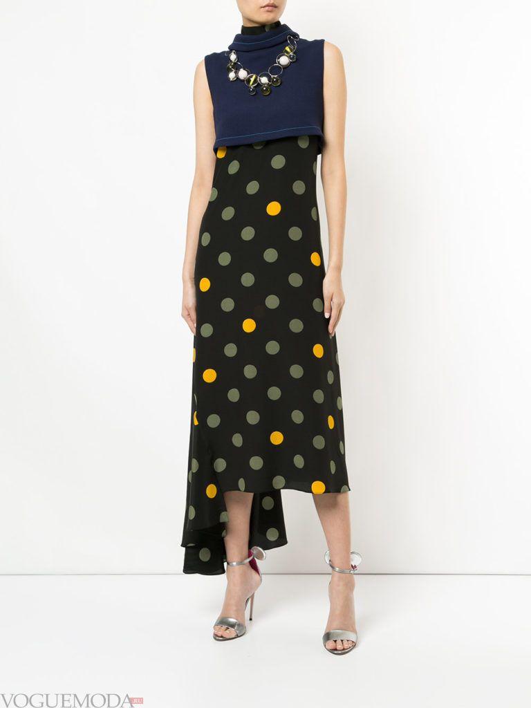 стильное платье с асимметрией комбинированное