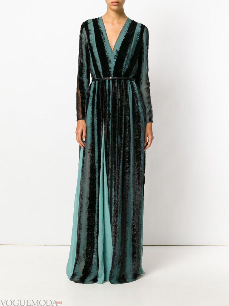 стильное длинное зеленое платье