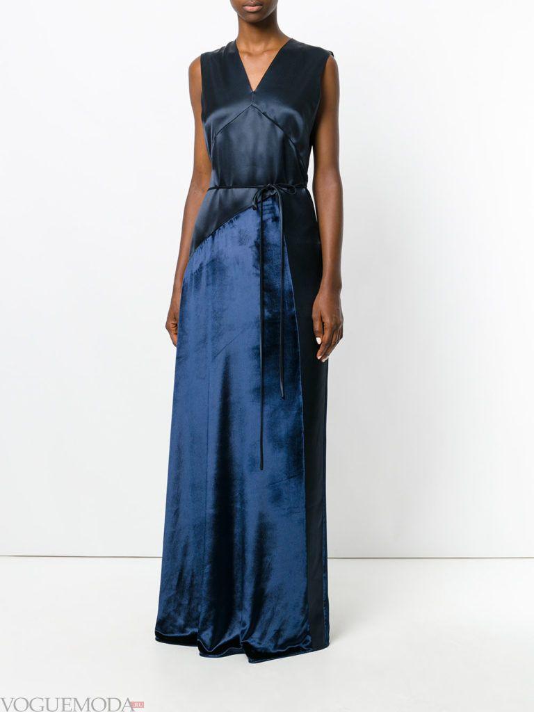 стильное длинное платье синее