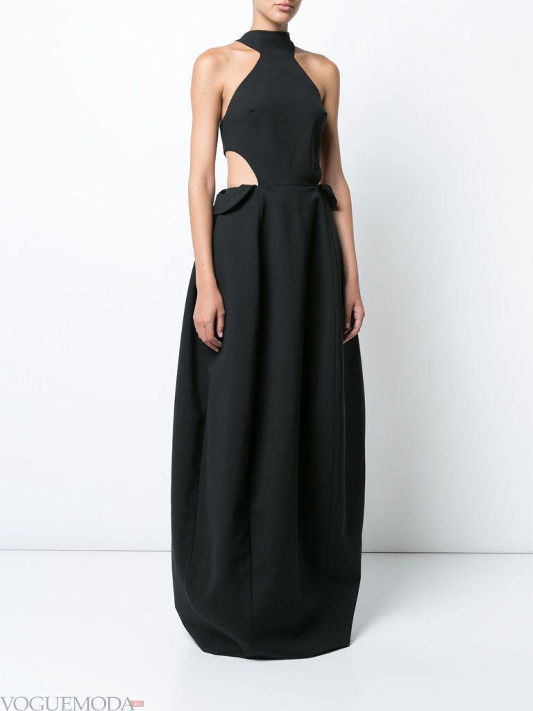стильное длинное платье черное