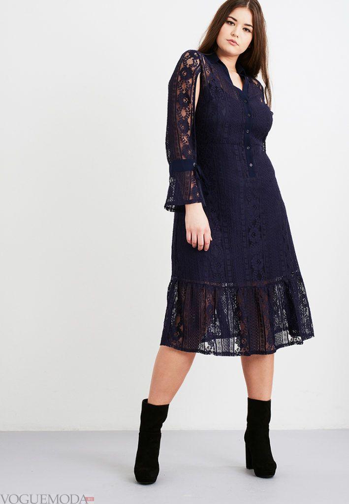 стильное платье для полных кружевное