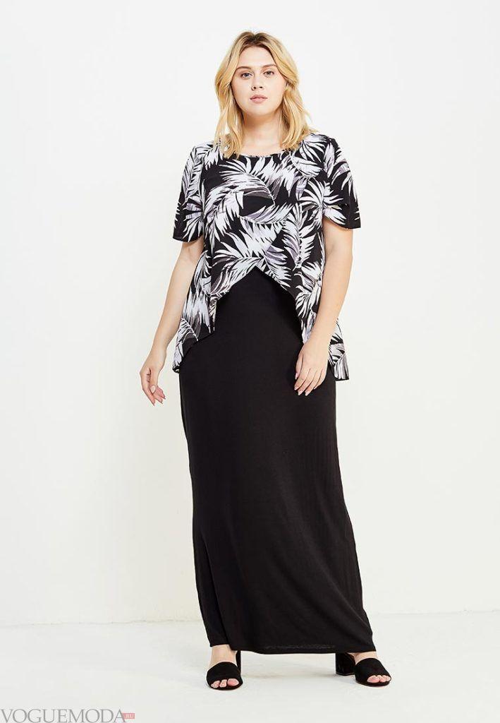 стильное платье для полных темное