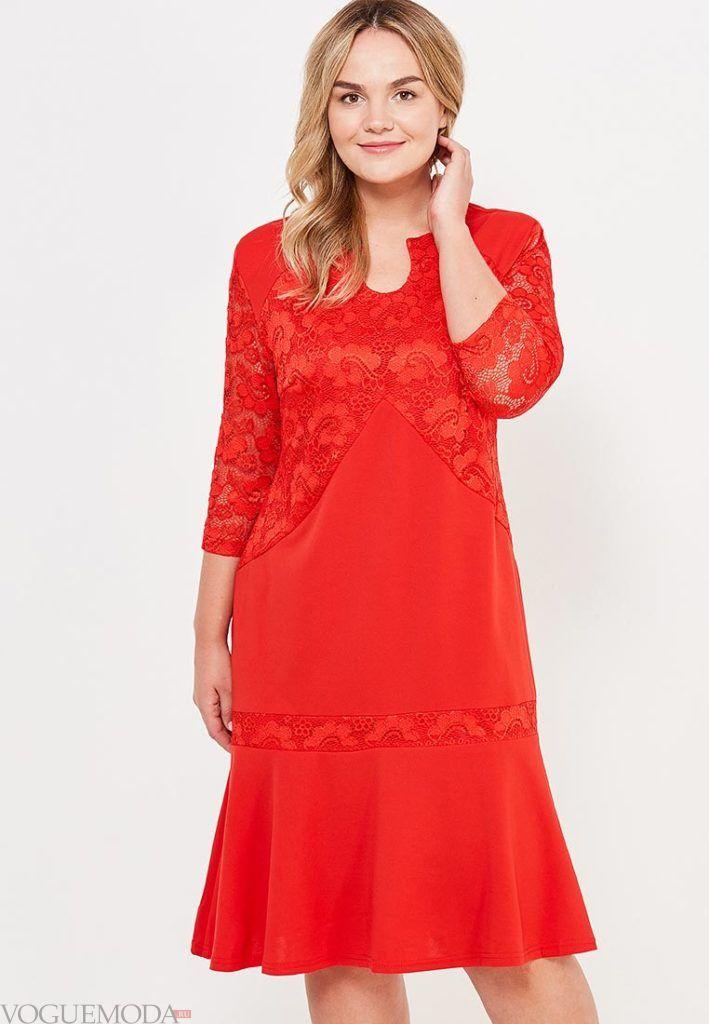 стильное платье для полных красное