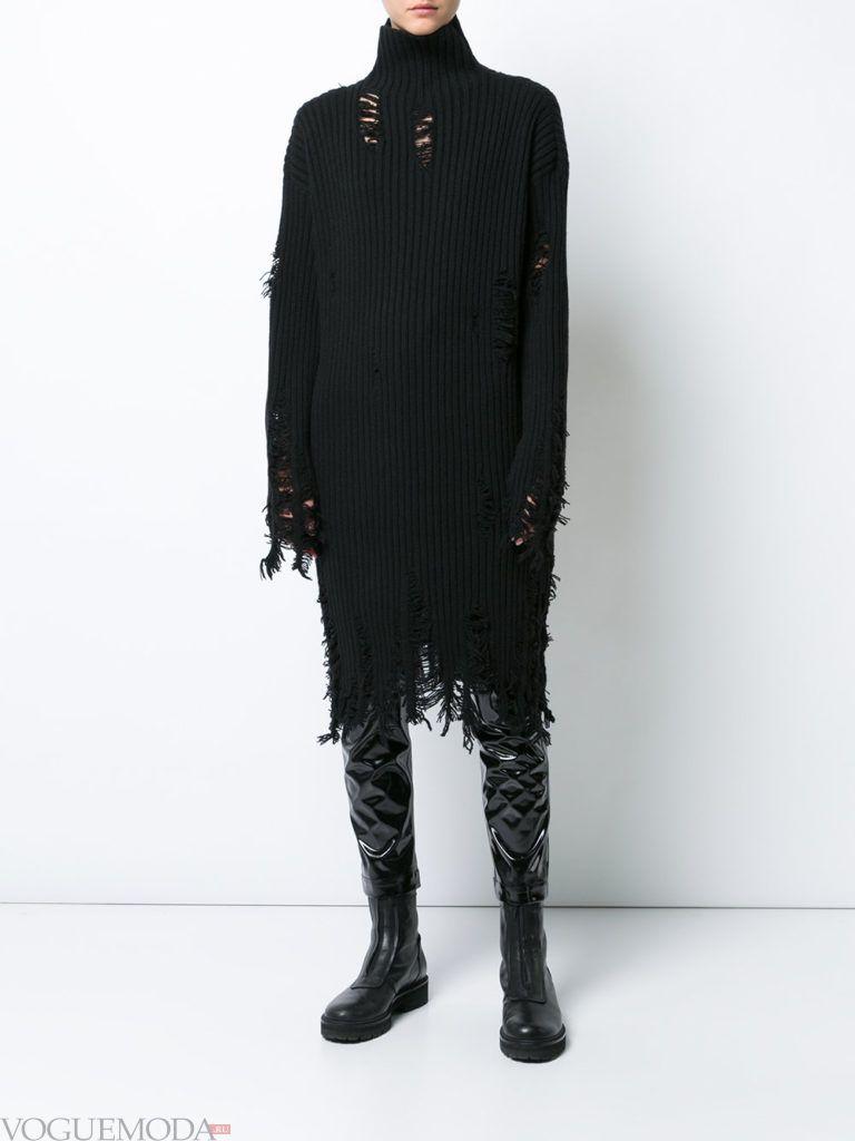 стильное вязаное платье черное