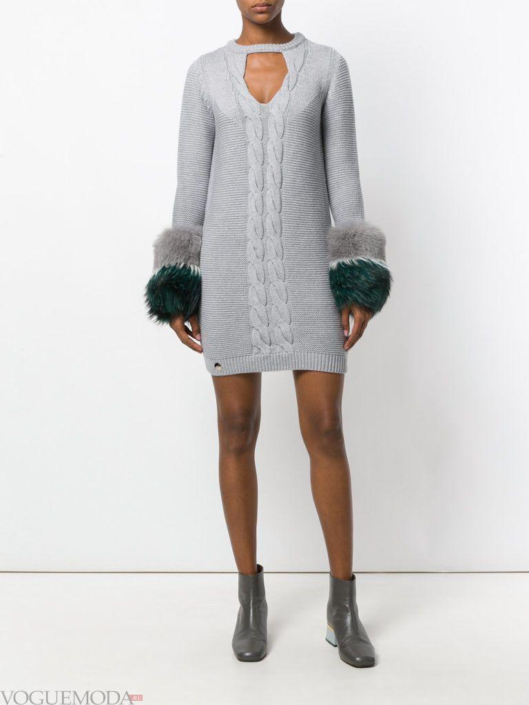 стильное вязаное платье с мехом