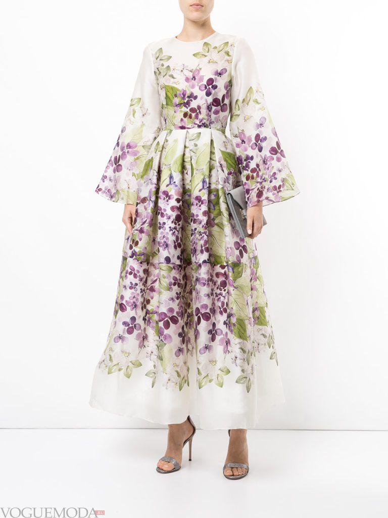 стильное пышное платье с принтом
