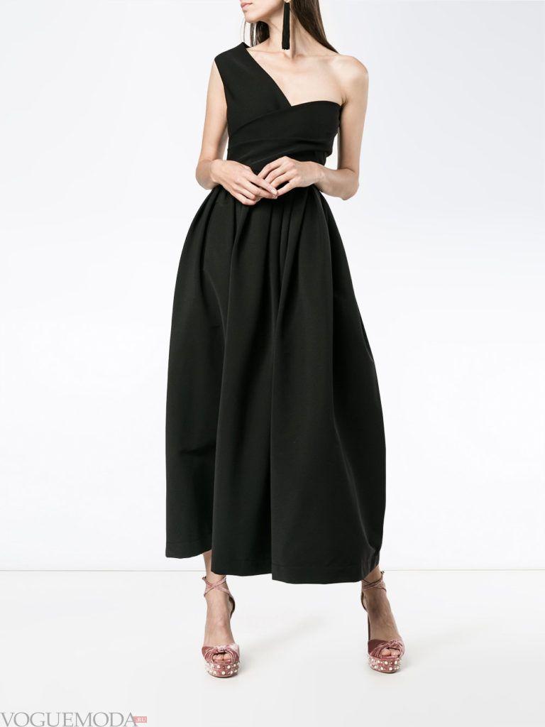 стильное пышное платье черное