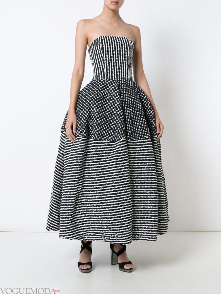 стильное пышное платье полосатое