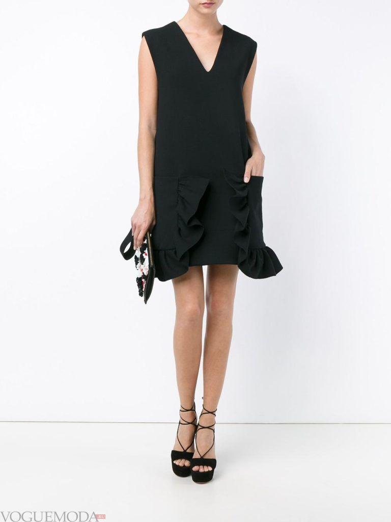 стильное платье в форме А образа черное