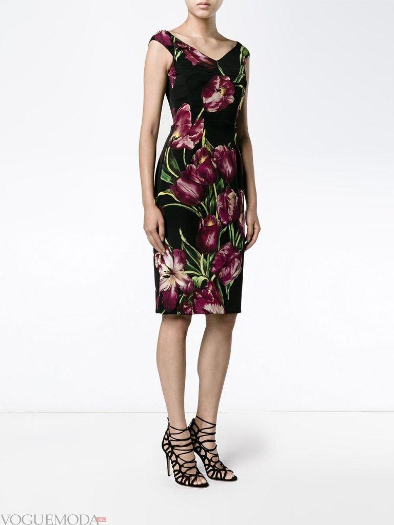 стильное платье в форме А образа с принтом