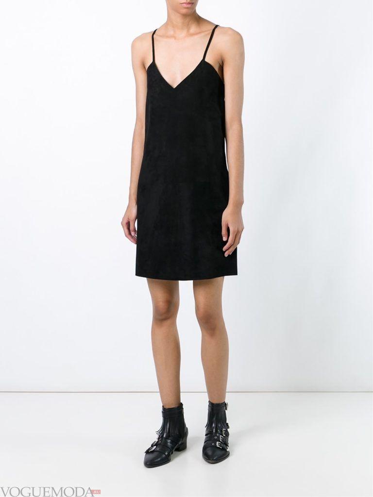 платье в пижамном стиле черное