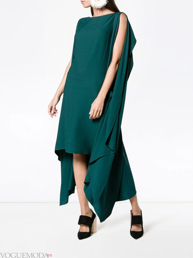 стильное платье хай лоу зеленое
