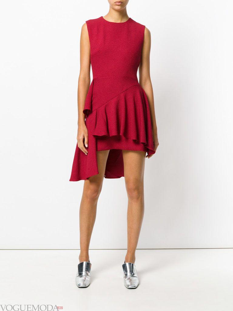стильное платье хай лоу красное