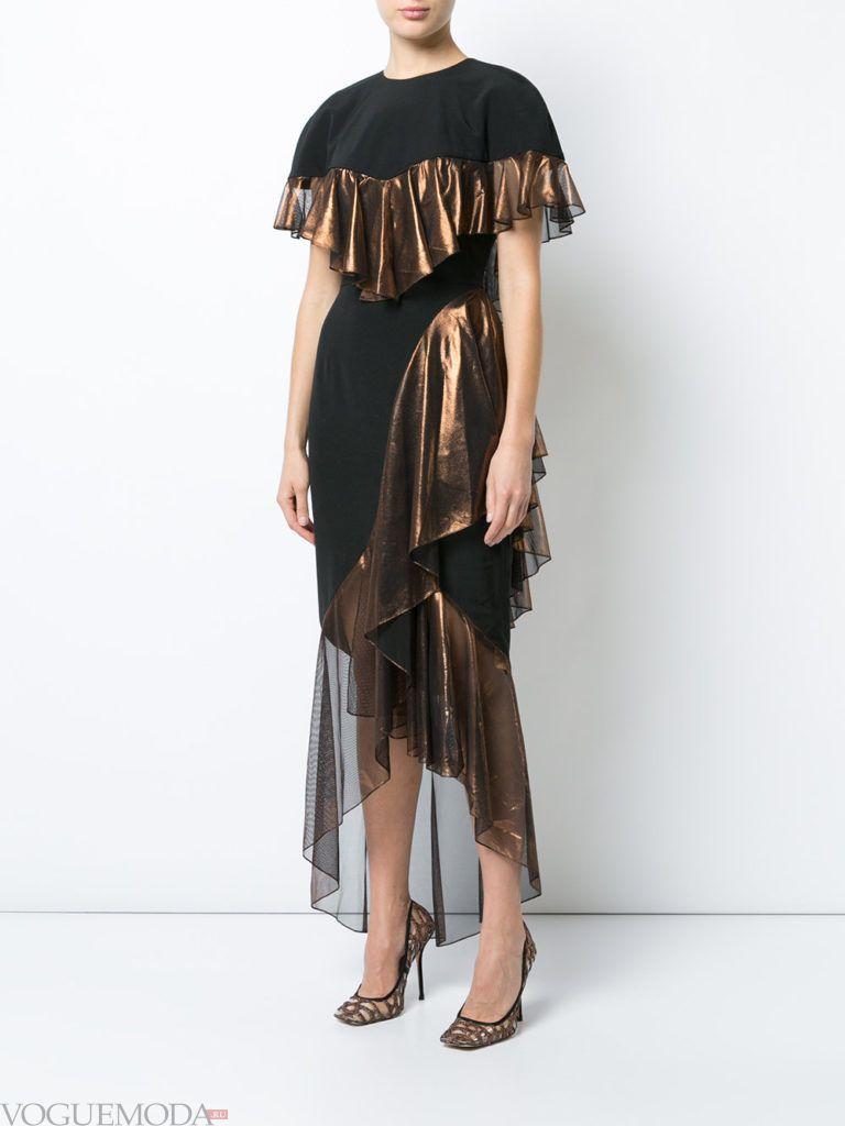 стильное платье хай лоу с декором
