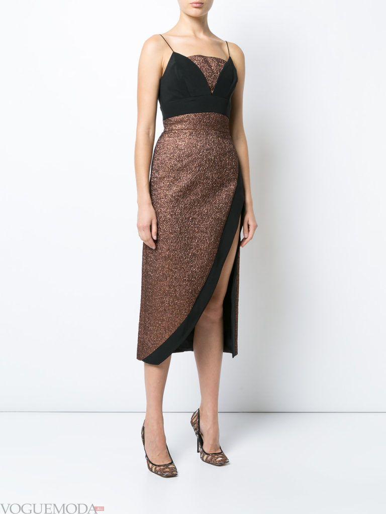 стильное платье хай лоу золотое