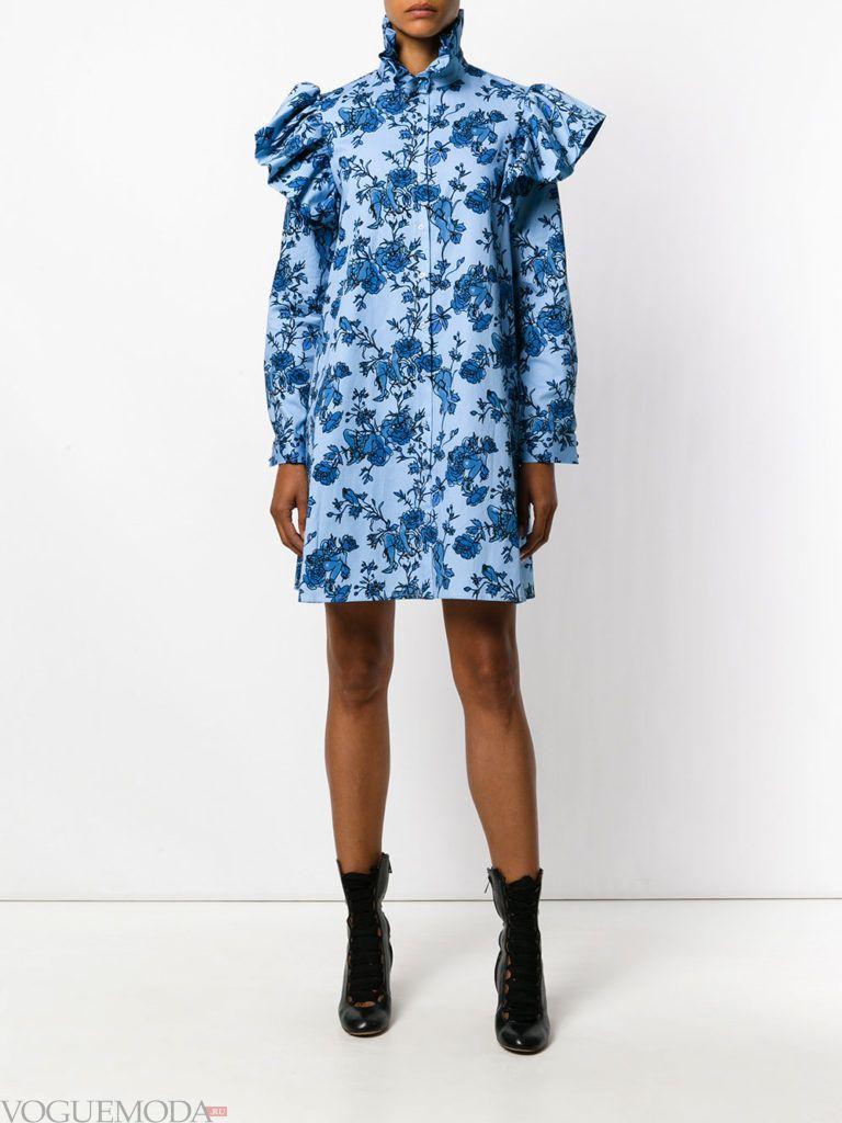 стильное платье рубашка с принтом