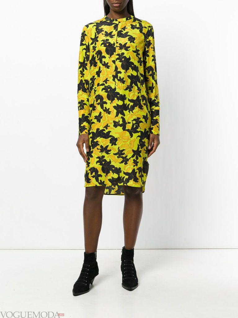 стильное платье рубашка яркое
