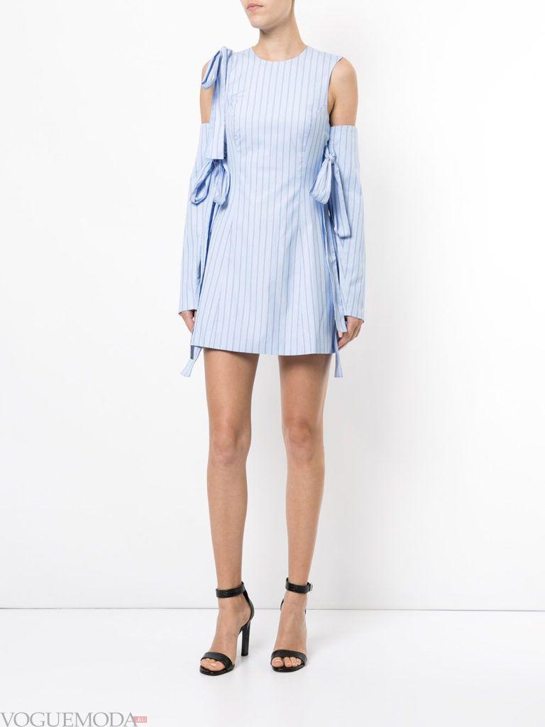 стильное платье рубашка голубое