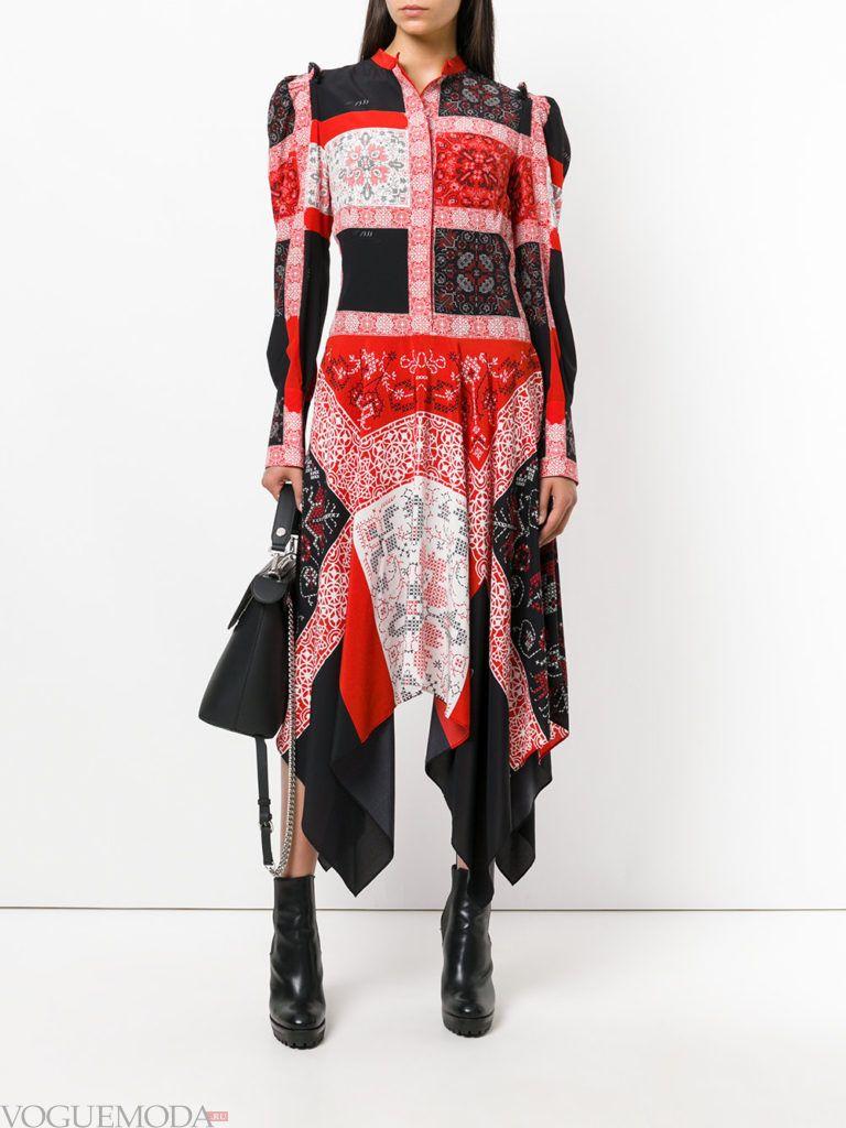 стильное платье с асимметрией цветное
