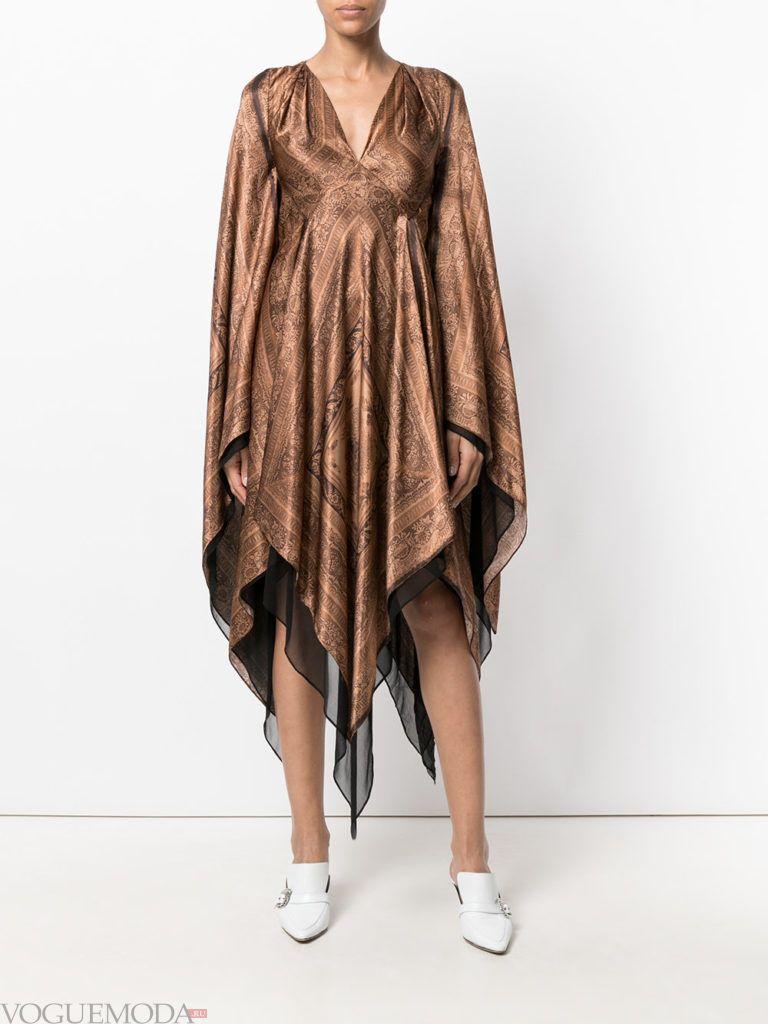 стильное платье с асимметрией золотое