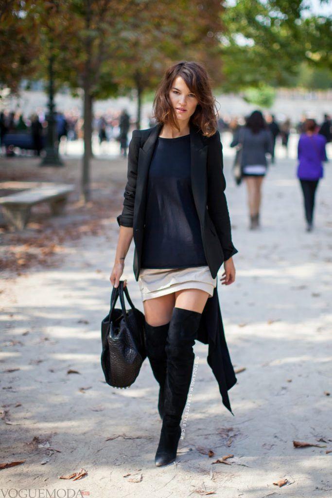 уличная мода ботфорты черные