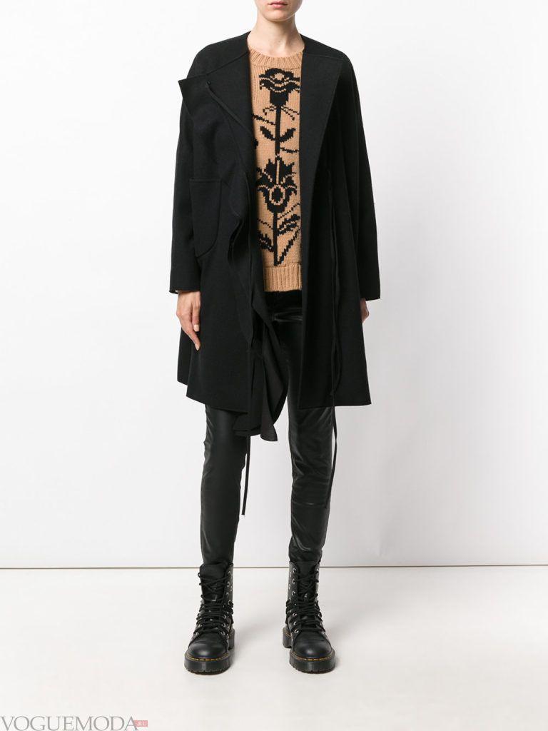 уличная мода пальто-оверсайз черное