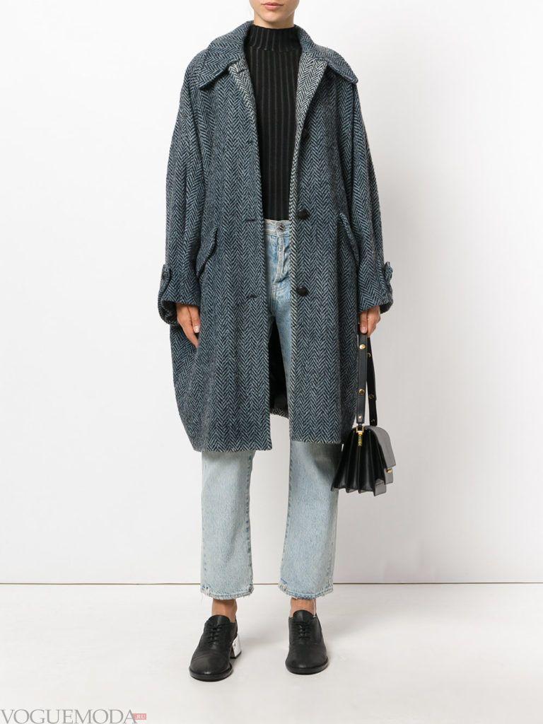 уличная мода пальто-оверсайз серое