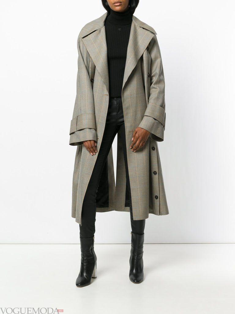 уличная мода длинное пальто серое