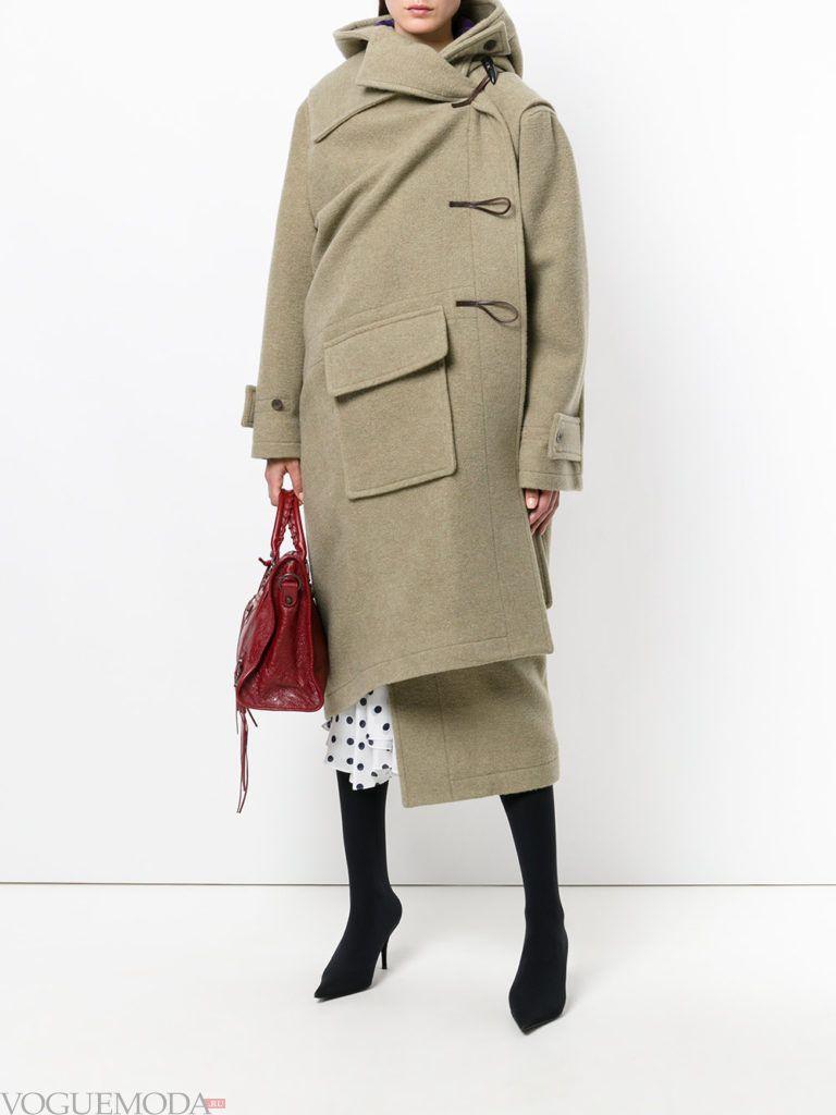 уличная мода длинное пальто асимметричное
