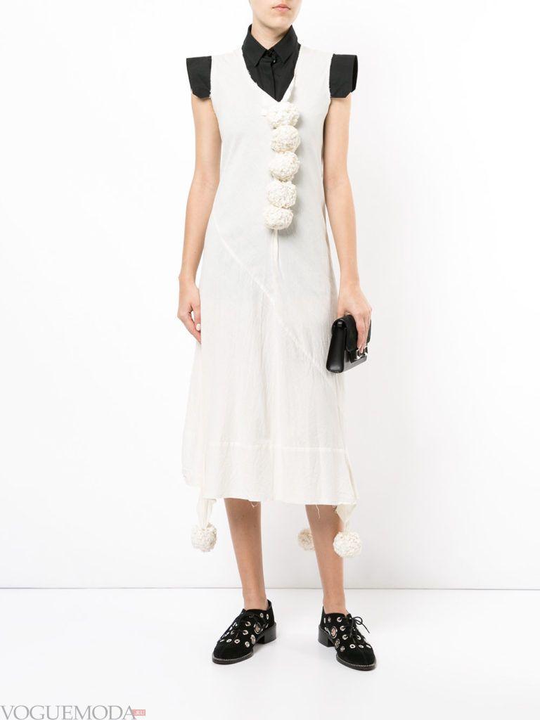 уличная мода платье белое