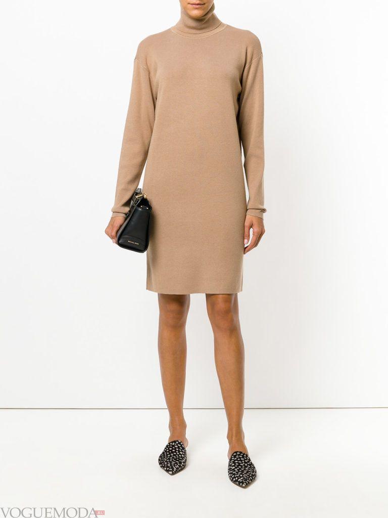 уличная мода платье бежевое
